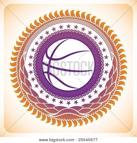 Illustrated modish basketball emblem. Vector illustration.