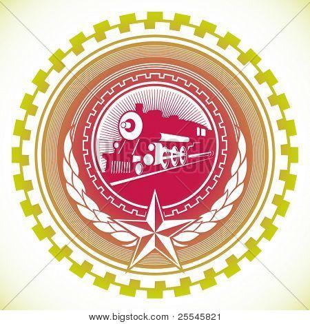 Illustrated modish communistic emblem. Vector illustration.