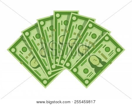 Money Banknotes Fan. Pile Of Dollars Cash, Green Dollar Bills Heap Or Monetary Currency Isolated Vec