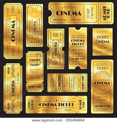 Realistic Golden Show Ticket. Old Premium Cinema Entrance Tickets. Gold Admission To Movie Theater O