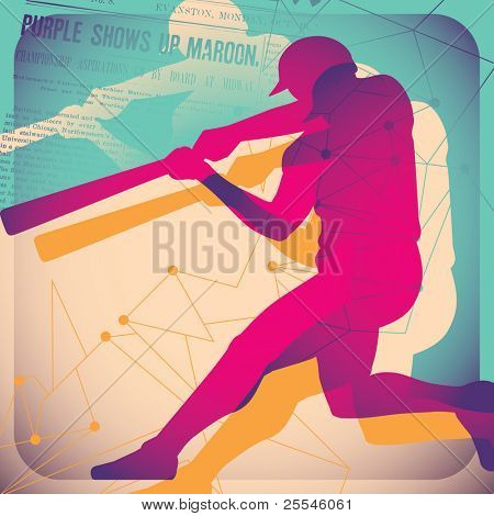 Illustrated baseball poster. Vector illustration.