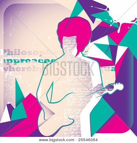 Illustrated guitar player. Vector illustration.