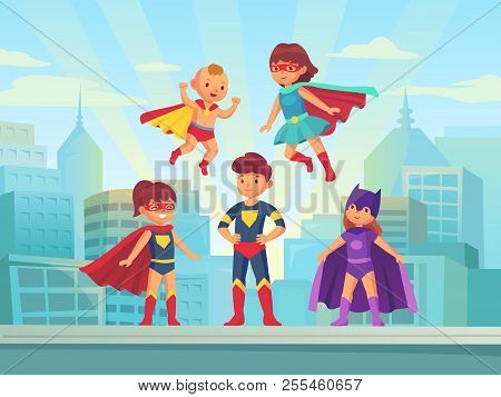 Superhero Kids Team. Comic Hero Kid In Super Costume With Cloak On Urban Roof. Children Superheroes