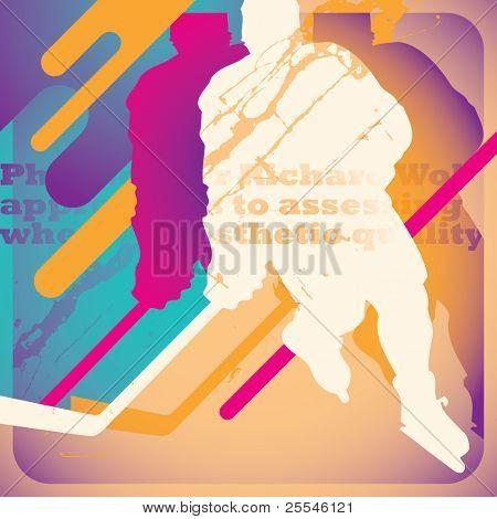 Illustrated hokey poster. Vector illustration.