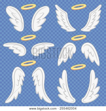 Cartoon Angel Wings. Holy Angelic Nimbus And Angels Wing. Flying Winged Angeles Vector Illustration