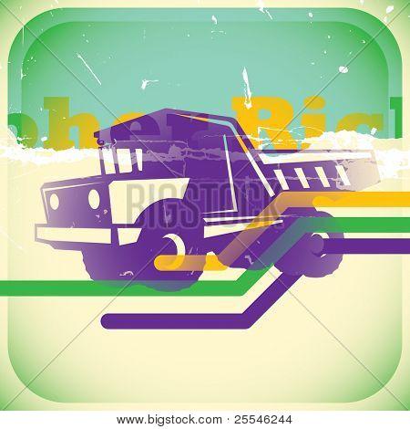 Retro truck illustration. Vector illustration.