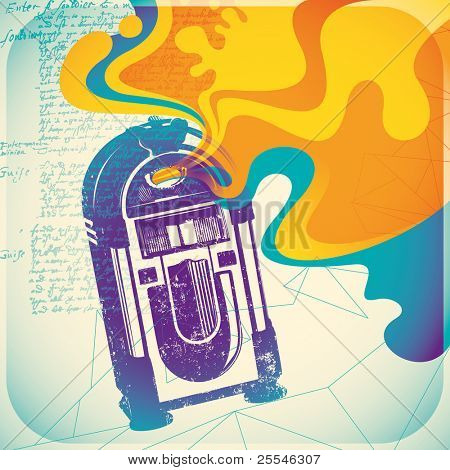 Colorful jukebox illustration. Vector illustration.