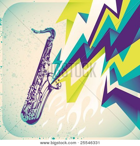 Modish banner with saxophone. Vector illustration.