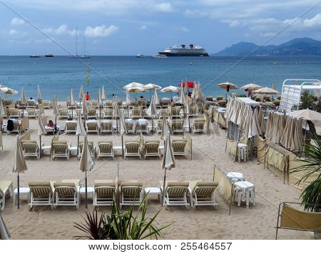 Cannes, France - June 28, 2018: City Beach In Cannes, South Of France