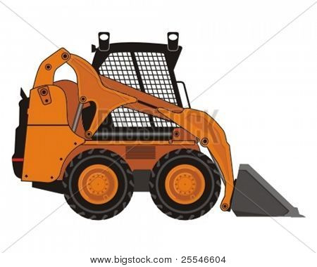 Vector illustration of compact excavator. poster
