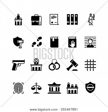 Law And Justice Icons. Legislation And Court, Judge And Lawyer. Criminal Police Vector Silhouette Is