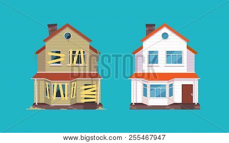 Home Renovation. House Before And After Repair. New And Old Suburban Cottage. Isolated Vector Illust