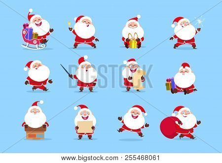 Santa Character. Funny Cartoon Cute Santa Claus Characters With Different Emotions, Vector Element F