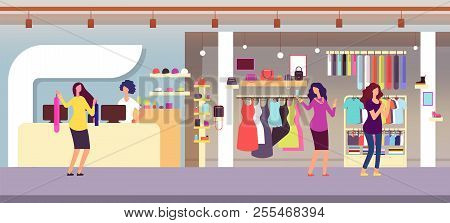 Fashion Store. Shopping Women In Boutique With Femele Clothes And Accessories. Clothing Shop Interio