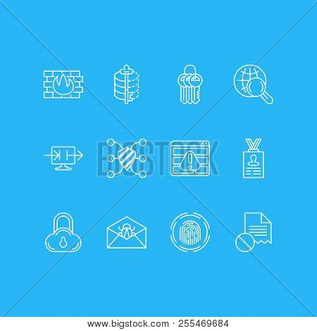Vector Illustration Of 12 Security Icons Line Style. Editable Set Of Cloud Data Protection, Firewall