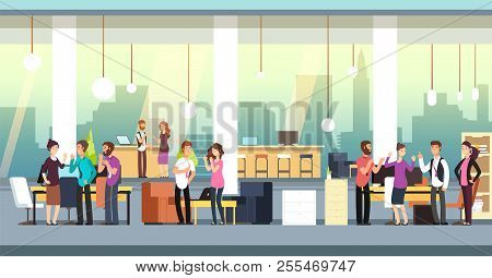 People In Coworking Office. Creative Coworkers In Casual Wear In Open Space Interior. Vector Illustr