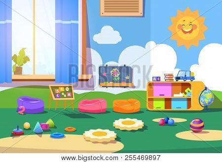 Kindergarten Room. Empty Playschool Room With Toys And Furniture. Kids Playroom Cartoon Vector Inter