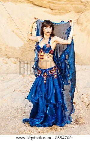 Belly Dancer In Blue Lingerie.