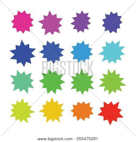 Starburst, Explosion Color Comic Shapes. Cartoon Bursting Speech Bubbles. Star Boom Sale Buttons Vec