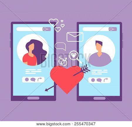 Romance Online Dating. Loving Couple On Screens Of Mobile Phones. Dating Applications Vector Concept