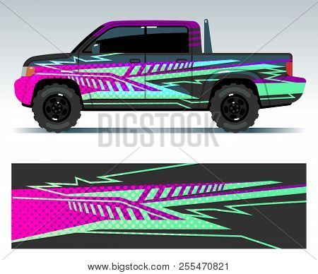 Racing Car Decals. Sport Vehicle Vinyl Stickers Vector Set. Vinyl Decal Sticker For Car Decoration I