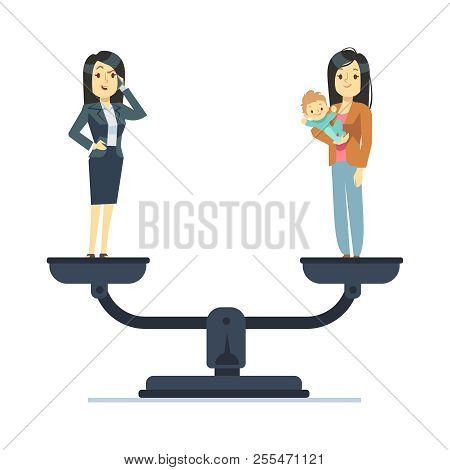 Businesswoman And Happy Woman Kid On Scales. Work And Life Balance Business Vector Concept. Balance