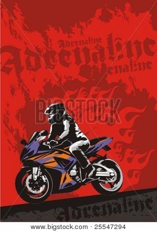 Super-bike with rider. Vector grunge background illustration.