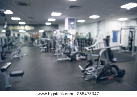 Abstract Blur Fitness And Gym Interior For Background