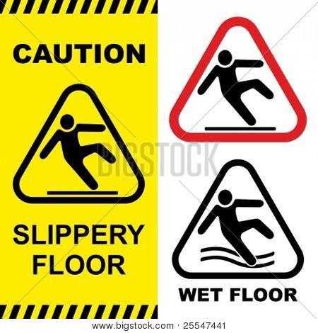 Slippery floor surface warning sign. Vector illustration. No gradients used.