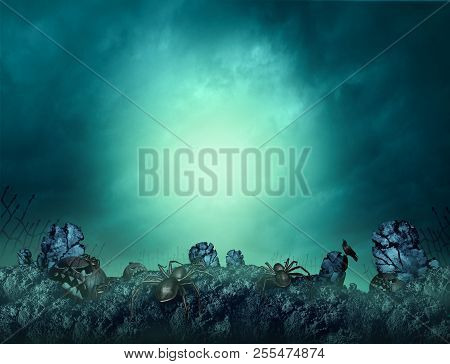 Haunted Cemetery And Spooky Cemeteries Halloween Scary And Creepy Glowing Background With Copyspace