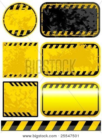 Vector grunge warning strips set.