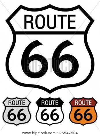 Sinal de estrada rota 66.
