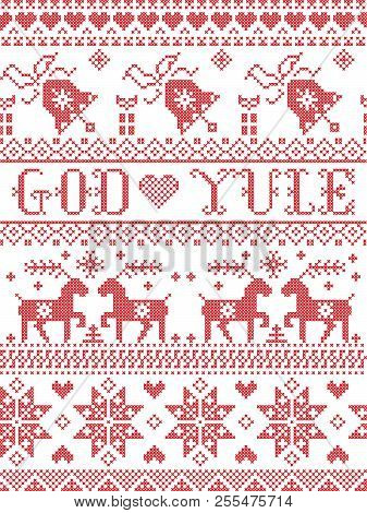 Christmas Pattern Merry Christmas In Norwegian God Yule Vector Seamless Pattern Inspired By Nordic C