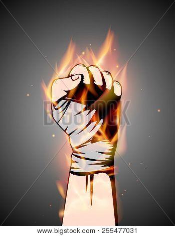 Mma Or Boxing Burning Bandage Fist Uplifted Hand. Mixed Martial Arts Fighting Flame Emblem Or Logo I
