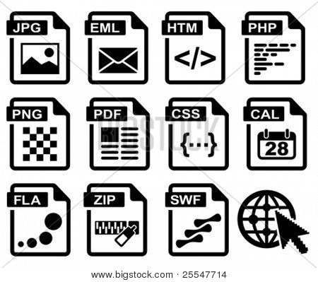 File type icons: web set. All white areas are cut away from icons and black areas merged.