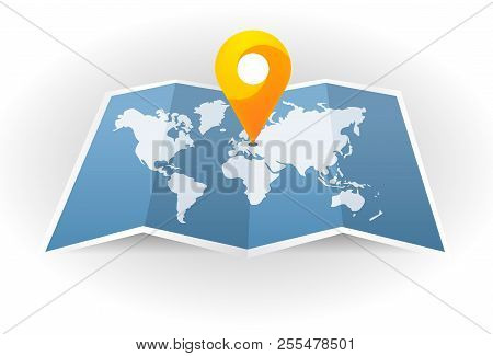 Vector Icon. Map Of The City. Point On The Map. Pin And Gps Navigator. Map Marker Pointer With Road