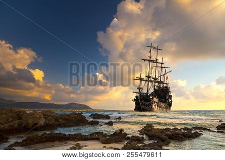 Old Ship Silhouette In Sunset Scenery, Italy