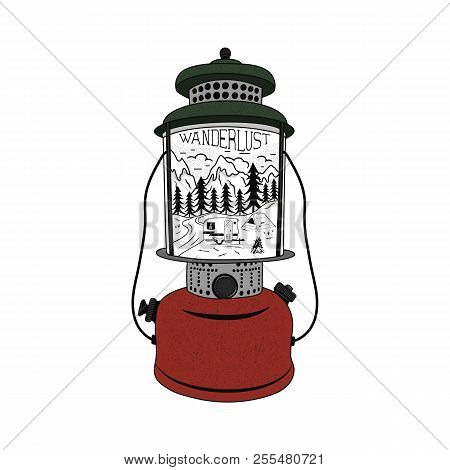 Vintage Hand Drawn Camping Lantern Emblem. Mountain Adventure Inside. Camp T-shirt. Funny Hiking Con