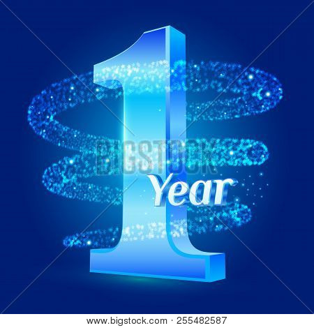 1 Year Shine Anniversary 3d Logo Celebration With Glittering Spiral Star Dust Trail Sparkling Partic