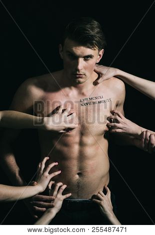 Pheromones, Desire And Attraction Concept. Macho On Pensive Face With Muscular Figure, Enjoy Female