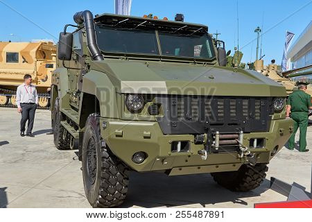 Kubinka, Russia, Aug.24, 2018: View On Heavy Military Armored 4wd Vehicle Typhoon K-53949 For Troop