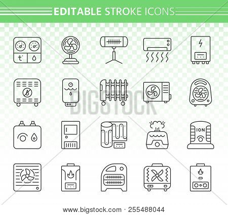 Hvac thin line icons set. Outline web sign kit of climatic equipment. Fan linear icon collection includes infrared heater, conditioner, ionizer. Editable stroke without fill. Hvac simple vector symbol poster