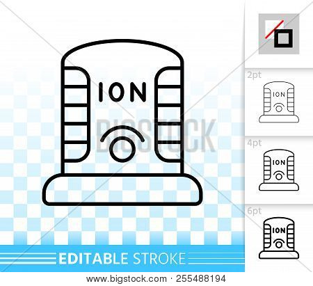 Ionizer thin line icon. Outline web sign of ionizator. Ozonator linear pictogram with different stroke width. Simple vector symbol, transparent background. Ionizing editable stroke icon without fill poster