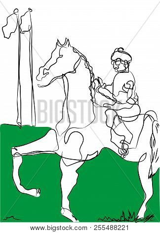 Horse And Jockey.  Simple Line Drawing Of Horse And Jockey In The Racing Area.