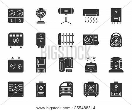 Hvac silhouette icons set. Isolated monochrome web sign kit of climatic equipment. Fan pictogram collection includes blower heating, ionizer, humidifier. Simple hvac symbol Vector Icon shape for stamp poster