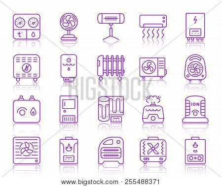 Hvac Thin Line Icons Set. Outline Vector Monochrome Web Sign Kit Of Climatic Equipment. Fan Linear I