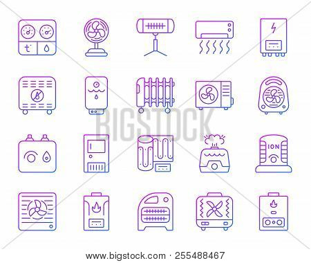 Hvac thin line icons set. Outline vector sign kit of climatic equipment. Fan linear icon collection includes infrared heater, conditioner, ionizer. Violet gradient simple hvac symbol isolated on white poster