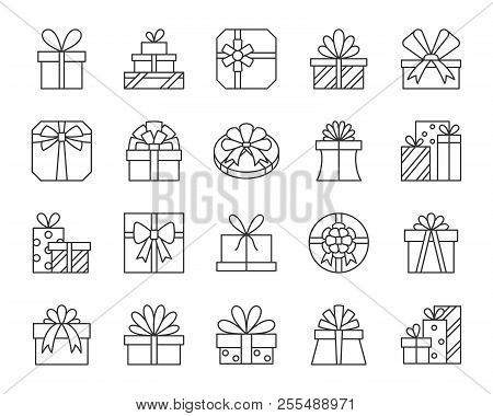 Gift Thin Line Icons Set. Outline Web Sign Kit Of Cute Bounty Box. Present Linear Icon Collection In