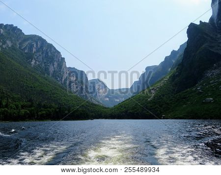 Looking Back From The Tour Boat At The End Of The Fjord Of The Western Brook Pond In Gros Morne Nati