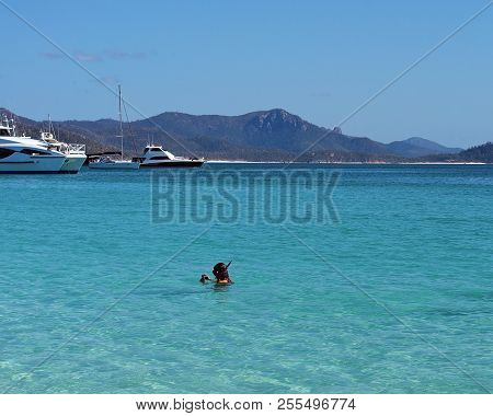 Woman Taking Photos While Snorkeling In The Blue Water Of Whitehaven White Silica Sand Beach In Whit